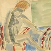 Ernst Ludwig Kirchner Nach dem Bad, um 1927 Aquarell, Bleistift auf Papier, 25,4 x 33 cm Ref. 1/AL