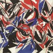 Lenz Klotz  blau - weiss - rot, schwarz gefasst, 1986  Oel auf Leinwand, 65 x 100 cm  Ref. 86/16