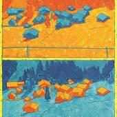 Samuel Buri Ref. 589 Hüttlenen, 2017 Oel auf Leinwand, zweitieilig, 141 x 109 cm
