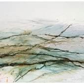 Rolf Iseli (1934) Neuland, 2016-2018 Stacheldraht, Erde, Kohle, Gouache auf Papier 70 x 100 cm