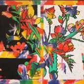 Samuel Buri (1935)  Bouquet sur fond noir et blanc, 1984  Acryl auf Leinwand  130 x 162 cm  1/TB