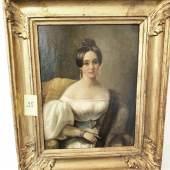 """""""Damenportrait"""", Öl auf Leinwand, wohl umsigniert, ca.24x19,5cm, 19.Jahrhundert"""