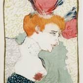 "Los 487 Henri de Toulouse-Lautrec  ""Mademoiselle Lender, en buste"". Farblithografie, 37x28 cm (BG) im Stein mgr. o.l., typografisch bez. ""Pan I 3."" (Schätzpreis: CHF 9'500)  ZUSCHLAG: 15'000"