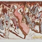 Los 512 Janssen, Horst (Hamburg 1929 - 1995). Svanshall verkehrt. 16 kolorierte Radierungen unter Passepartout.  Mindestpreis:3.000 EUR Aufrufpreis: Schätzpreis:4.000 EUR