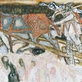 """131 CARIGIET, ALOIS 1902 Trun 1985   """"Holzer im Schnee mit Pferd"""". CHF64'000"""