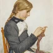 """24 ANKER, ALBERT 1831 Ins 1910 """"Strickendes Mädchen"""".    Aquarell über Bleistift, sig. u. dat. 1906 u.r., 33,5x24 cm (LM)   Provenienz: Privatbesitz, Schweiz.CHF80'000"""
