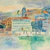 """DUFY, JEAN Le Havre 1888 - 1964 Boussay   """"L′Hôtel Welcome à Villefranche-sur-Mer"""". CHF19'000"""