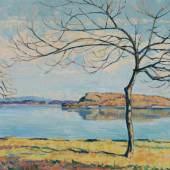 GEIGER, ERNST SAMUEL Turgi 1876 - 1965 La Neuveville   Sonniger Tag am Bielersee mit der St. Petersinsel.