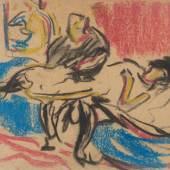 ERNST LUDWIG KIRCHNER (1880 – 1938), BOUDOIR-SZENE,  Mischtechnik (Farbkreide und Kohle) auf Karton. 20,5 x 23,6 cm. Limit 1.500,- €