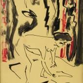 ERNST LUDWIG KIRCHNER ( 1880 – 1938), SICH BÜCKENDER AKT, Mischtechnik (Tusche, Gouache) auf gelbem Papier. SM 27,5 x 21 cm. Limit 1.000,- €