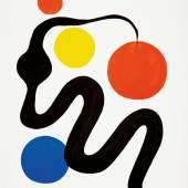 "1495 / CHF 1200.– Calder Alexandre 1898 Philadelphia - 1976 New York ""Composition"". Farblithografie auf Büttenpapier. 42/150. Signiert. Gerahmt.  Bildmasse 70 cm × 50 cm"