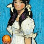 """1915 / CHF 18000.– Amiet Cuno 1868 Solothurn - 1961 Oschwand """"Greti"""". Pastell. Monogrammiert."""
