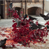 Jarvier Perez, Carrona (Carrion), 2011. Hand blown glass and stuffed crows. Glasstress at the Boca Musuem of Art & Art School