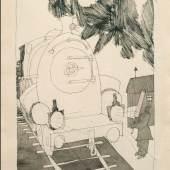 LYONEL FEININGER 1871 - New York - 1956 DER BAHNWÄRTER, 1910 Feder in Schwarz, laviert und mit Rosa aquarelliert auf chamoisefarbenem Bütten, 30,5 x 24 cm Signiert und datiert rechts unten: Feininger   Wed Mar 23, 10, Betitelt unten Mitte: Der Bahnwärter