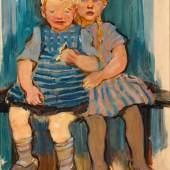 """Kunsthandel Dr. Michael Nöth, Ansbach: Lotte Laserstein """"Geschwister auf Holzbank"""", 1932, Öl und Gouache auf Karton, signiert"""
