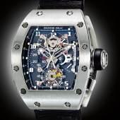 Richard Mille An Impressive Platinum Tonneau Form Tourbillon Split Seconds Chronograph Wristwatch with Power Reserve and Torque Indication Mvt 13 Rm008 Ag Pt No 24 Circa 2006 Estimate 250,000–500,000 USD