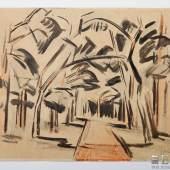 Pechstein, Max (1881-1955) (Attrib.) 'Kleiner Waldweg' Aquarell/Papier von 1919 erzielt mit 5.700 Euro