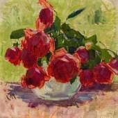 """526 – Carl Moll, """" Rosen"""", um 1930, Öl auf Holz, verkauft: € 75.600,-"""