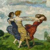 """501 – Franz von Stuck, """"Ringelreihen"""", 1910, Öl auf Holz, verkauft: € 163.800,-"""