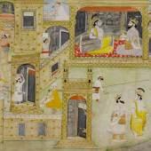 MINIATUR EINER NÄCHTLICHEN JAGDSZENE, Indien, Rajasthan, 19. Jh. 43x66 cm. Verkauft für CHF 20 400