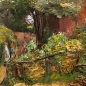 """511 – Max Liebermann, """"Zwei Mädchen auf einem Waldweg"""", 1914, Öl auf Leinwand, verkauft: € 119.700,-"""