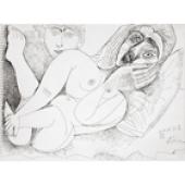 Pablo Picasso (1881–1973) Nu couché avec spectateur (Ruhender Akt mit Betrachter/ Latent nude with spectator), 20.4.1971  Federzeichnung (Tusche) auf Blockblatt mit Wasserzeichen 24 x 33 cm Sammlung Würth, Inv. 5765 © 2016 Succession Picasso/VG Bild-Kunst, Bonn für die Werke von Pablo Picasso