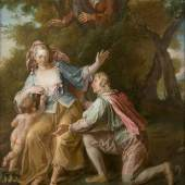 LOUIS-MICHEL VAN LOO (1707 Toulon - 1771 Paris), GALAN-TE SZENE, Öl auf Leinwand, 79 cm x 62,5 cm, Provenienz: Süddeutsche Privatsammlung. Limit: 18.000,- €