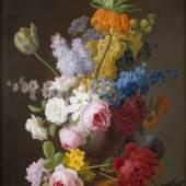 PETER FAES(1750 Antwerpen - 1814 Ebenda), OPULENTES BLUMENSTILLLEBEN, Öl auf Holztafel. 74,5 cm x 58 cm, Provenienz: Süddeutsche Privatsammlung. Limit: 15.000,- €
