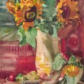 """KatNr. 516 Bernhard Kretzschmar, Stilleben mit Sonnenblumen und Fotografie. Wohl 1950er Jahre.   516   Bernhard Kretzschmar, Stilleben mit Sonnenblumen und Fotografie. Wohl 1950er Jahre.  Aquarell über Blei auf """"Fabriano""""-Bütten. Unsigniert. Verso u.re. von der Witwe des Künstlers authentifiziert """"Nachlaß Bernh. Kretzschmar / Hildg. Sti.-Kretzschmar""""; Mi.re. nummeriert """"77/87"""". Verso eine nicht vollständig ausgeführte Interieurszene mit Kaffeetisch und Gugelhupf. Im Passepartout.2400"""
