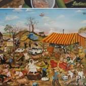 BERTIERS, JOSEPH (geb. 1963)  'Master of ceremony behind the mess', Acryl/Spanplatte, 90x120, u.li.sign./o.li.betitelt, gerahmt     Aufrufnummer: 1612 Aufrufpreis: 2.200 Euro