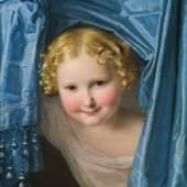 Ferdinand Georg Waldmüller (1793-1865), Kind unter einem blauen Seidenvorhang hervorschauend, 1821, Öl auf Leinwand, 44 x 35 cm, Schätzpreis: € 70.000 – 140.000