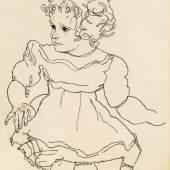 Egon Schiele Schätzpreis € 70.000 - 140.000 (Tulln 1890 - 1918 Wien) Sitzendes Mädchen, 1918
