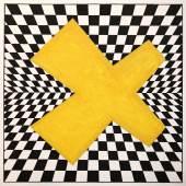 5 H.JOOS Schach mit gelbem Kreuz 1982 Temp Gouache Blei Karton 63,3x63,3cm