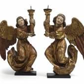 Paar seltener gotischer Leuchterengel des bekannten Bildhauermeisters Jakob Ruß (vor 1482 - nach 1506)