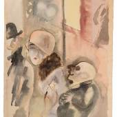 GEORGE GROSZ 1893 - Berlin - 1959 NACHTS, 1926 Aquarell und Feder auf dickem, genarbtem Aquarellkarton, 60,3 x 47,8 cm