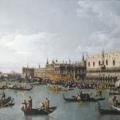 Canaletto. Bernardo Bellotto malt Europa  Bernardo Bellotto, Das Hafenbecken von San Marco am Himmelfahrtstag, Venedig, um 1739/40, Leinwand, 108 x 152,5 cm  © From the Castle Howard Collection / Reproduced by kind permission of The Hon. Simon Howard.