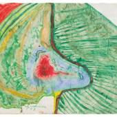 Friedensreich Hundertwasser, Chemin A Travers Une Fleur / Der Weg Der Durch Eine Blume Führt, Aquarell auf mit Zinkweiß in Fischleim grundiertem Packpapier, 45 × 64 cm, € 75.000 – 150.000