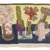 Elisabeth Ahnert, Kleine Blumenreihe. Wohl 1950er/ 1960er Jahre.  Applikation. 2200 €