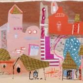 """Elisabeth Ahnert """"Rosa Häuser"""". 1960er Jahre. 750 €"""
