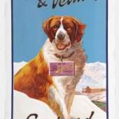 """2317 EMAILSCHILD  HUSSON, JOSEPH MARIE Porrentruy 1864 - 1910 Bressaucourt  """"Suchard chocolats extra fondants"""", um 1925. ZUSCHLAG: CHF 16'000.-"""