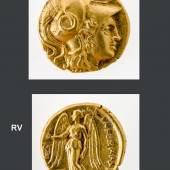 616 Königreich Makedonien Alexander der III. (der Große) (336 - 323 v. Chr.). Gold-Stater.  Av.: Kopf der Athena in korinthischem Helm. Rv.: Nike steht nach  links mit Kranz und Stylis, links unten Beizeichen. % 1,8 cm.  ca. 8,5 g. (4452225)800,-- EURO