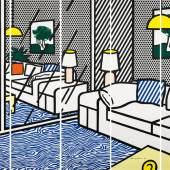 Roy Lichtenstein * Schätzpreis€ 18.000 - 30.000 (New York 1923 - 1997 New York) Wallpaper with blue floor interior, 1992 Farbsiebdruck; Auflage: 188/300; je 261 × 77,5 cm; insgesamt 261 × 387,5 cm (ohne Rahmen)
