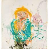 Martha Jungwirth * Schätzpreis€ 7.000 - 14.000 (Wien 1940 geb.) Porträt, 1987 Öl auf Papier auf Leinwand kaschiert; 150 × 139 cm Monogrammiert und datiert rechts unten: M. J. 87