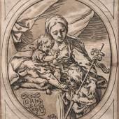 KatNr. 300050 Bartolomeo Coriolano, Maria mit dem Jesuskind und dem Johannesknaben. 1647.   Bartolomeo Coriolano, Maria mit dem Jesuskind und dem Johannesknaben. 1647. 1200 €