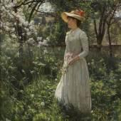 EDUARD NICZKY (1850-1919), Im blühenden Garten, Öl auf Lein-wand. 51 x 35 cm. Erlös 33.750,-€