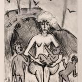 """Hermann Max Pechstein """"Yali VIII (Das weiße Weib mit den farbigen Kindern)"""". 1923. 480 €"""