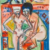 Ernst Ludwig Kirchner (Aschaffenburg 1880-1938 Frauenkirch bei Davos)  'Nackte Frau und Mädchen' (probably Anna Müller), ca. 1925 watercolor and chalk on paper; 49.8 × 33.9 cm estate stamp on reverse with the number: A Da/Bg 6 title on the reverse: Nackte Frau und Mädchen signed (lower right): E L Kirchner from the estate of the artist; Austrian private property This work has been registered at the Ernst Ludwig Kirchner Archive Wichtrach/Bern. estimate€ 100,000 - 200,000