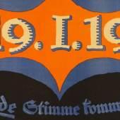 Lucian Bernhard (1883–1972), Des deutschen Volkes großer Tag!, 19.1.19, Plakat des Werbedienstes, Januar 1919, Lithografie, 70 x 95 cm, Museum für Kunst und Gewerbe Hamburg © VG Bild-Kunst, Bonn 2018