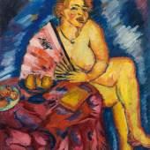 Georg Tappert * (Berlin 1880-1957 Berlin)  Mädchen am Tisch (Betty mit Fächer), 1913 Öl auf Leinwand; 109,5 × 91,5 cm,  Meistbot€ 170.000 (ohne Aufgeld)