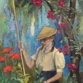 Paul Wilhelm, Mädchen mit chinesischem Hut im Garten des Künstlers. Um 1945. Schätzpreis:  4500 €